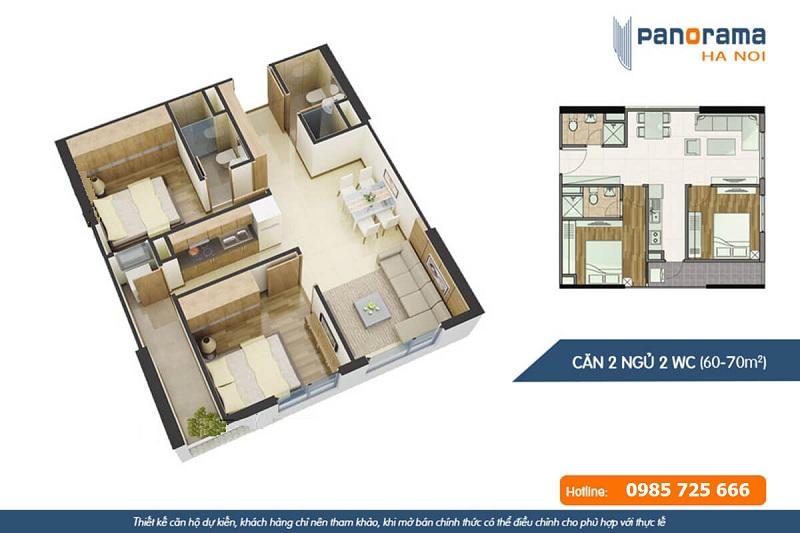 Thiết kế căn hộ 2n2wc chung cư Panorama Hoàng Văn Thụ - Hoàng Mai