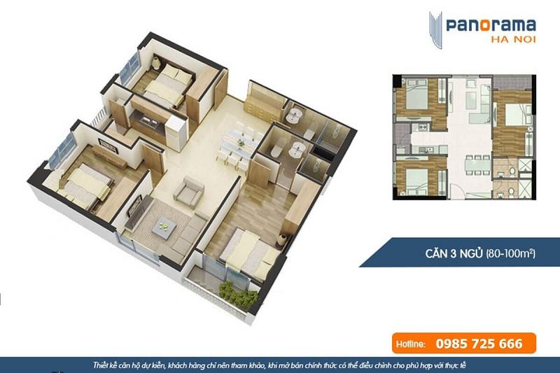 Thiết kế căn hộ 3n2wc chung cư Panorama Hoàng Văn Thụ - Hoàng Mai