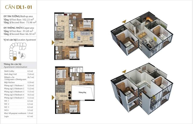 Thiết kế căn hộ 01 tòa Sky 1 dự án Sunshine Crystal River Ciputra