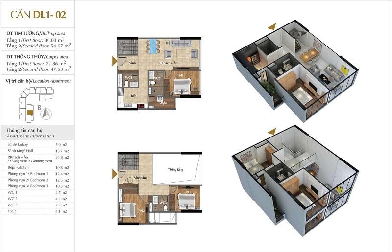Thiết kế căn hộ 02 tòa Sky 1 dự án Sunshine Crystal River Ciputra