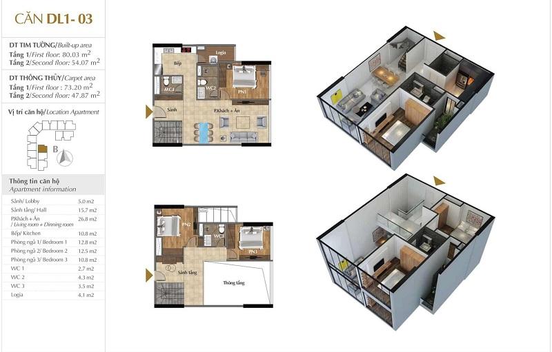 Thiết kế căn hộ 03 tòa Sky 1 dự án Sunshine Crystal River Ciputra