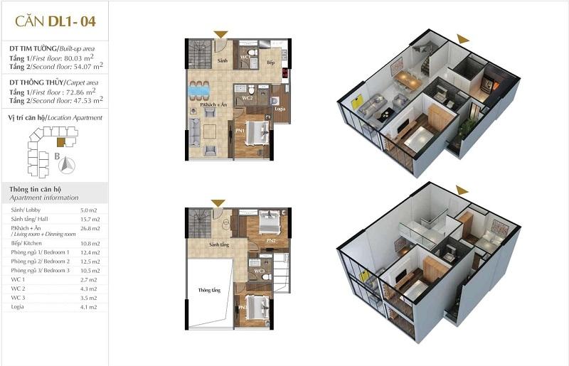 Thiết kế căn hộ 04 tòa Sky 1 dự án Sunshine Crystal River Ciputra