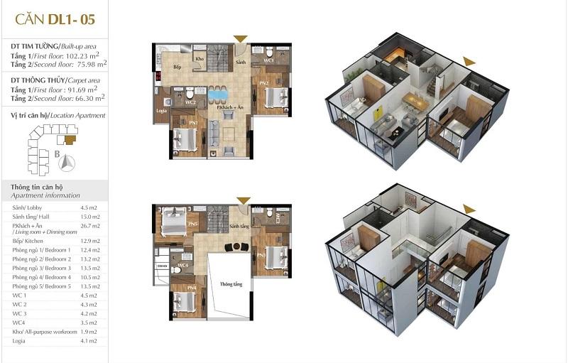 Thiết kế căn hộ 05 tòa Sky 1 dự án Sunshine Crystal River Ciputra