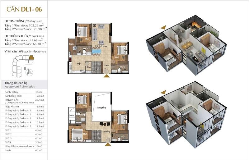 Thiết kế căn hộ 06 tòa Sky 1 dự án Sunshine Crystal River Ciputra