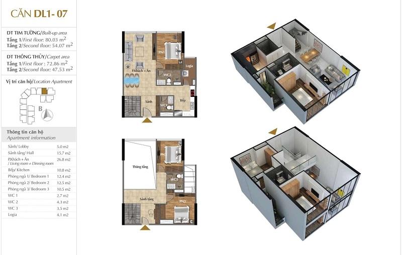 Thiết kế căn hộ 07 tòa Sky 1 dự án Sunshine Crystal River Ciputra