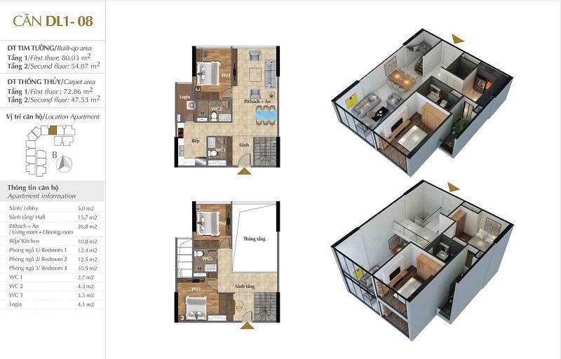 Thiết kế căn hộ 08 tòa Sky 1 dự án Sunshine Crystal River Ciputra