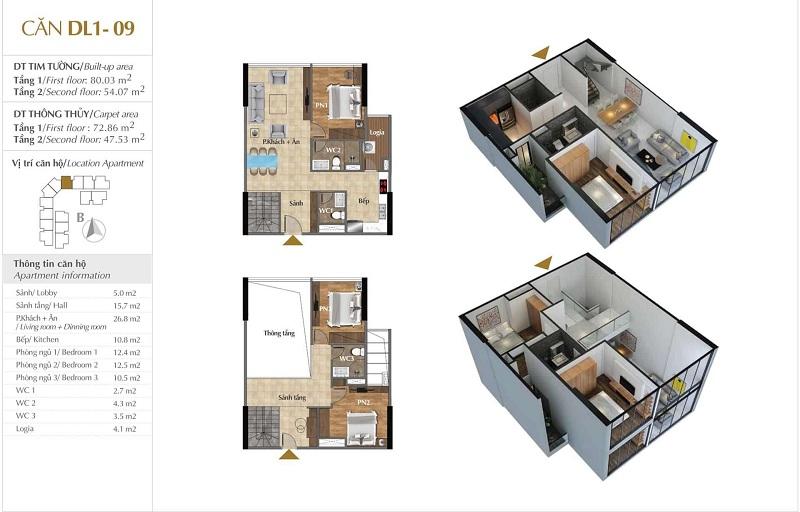 Thiết kế căn hộ 09 tòa Sky 1 dự án Sunshine Crystal River Ciputra