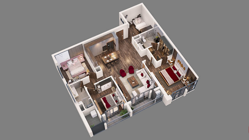 Thiết kế căn hộ 1-8 tòa Diamond Goldmark City 136 Hồ Tùng Mậu