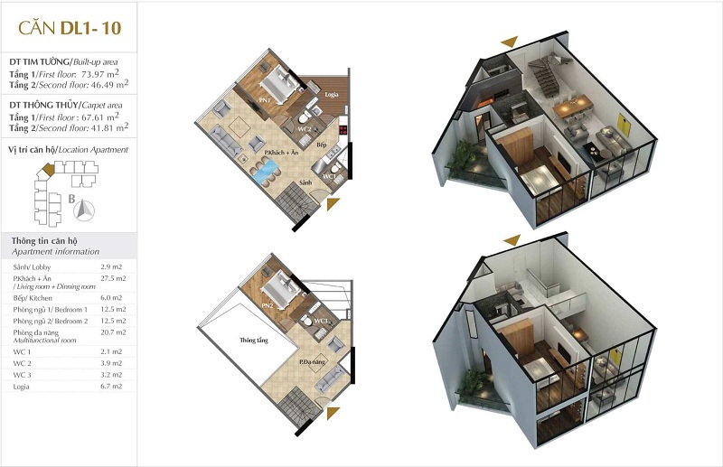 Thiết kế căn hộ 10 tòa Sky 1 dự án Sunshine Crystal River Ciputra