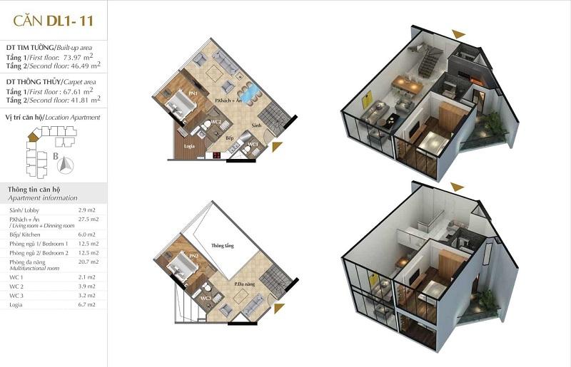 Thiết kế căn hộ 11 tòa Sky 1 dự án Sunshine Crystal River Ciputra