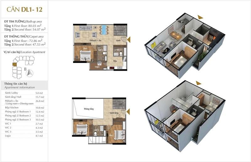 Thiết kế căn hộ 12 tòa Sky 1 dự án Sunshine Crystal River Ciputra