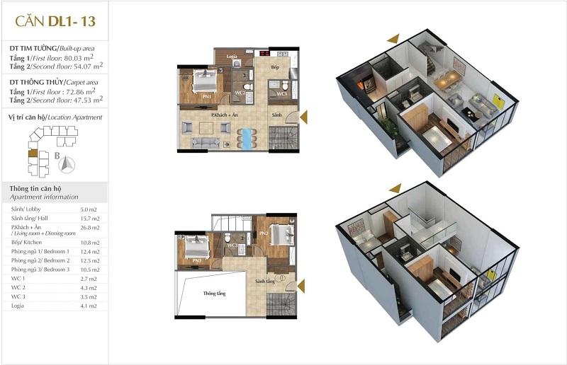 Thiết kế căn hộ 13 tòa Sky 1 dự án Sunshine Crystal River Ciputra