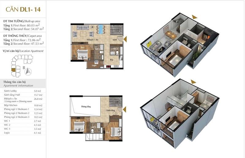 Thiết kế căn hộ 14 tòa Sky 1 dự án Sunshine Crystal River Ciputra