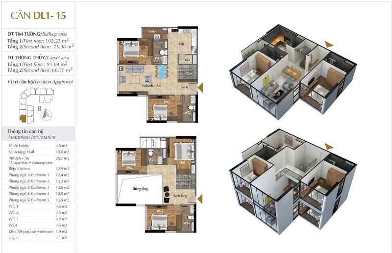 Thiết kế căn hộ 15 tòa Sky 1 dự án Sunshine Crystal River Ciputra