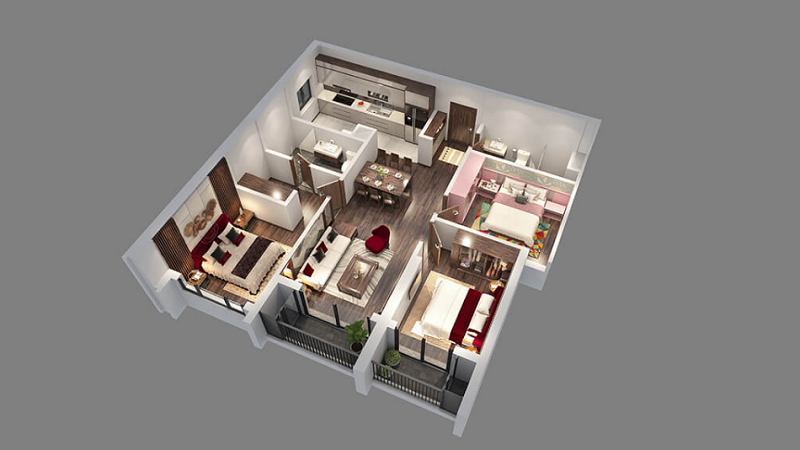 Thiết kế căn hộ 2-6-7 tòa Diamond Goldmark City 136 Hồ Tùng Mậu