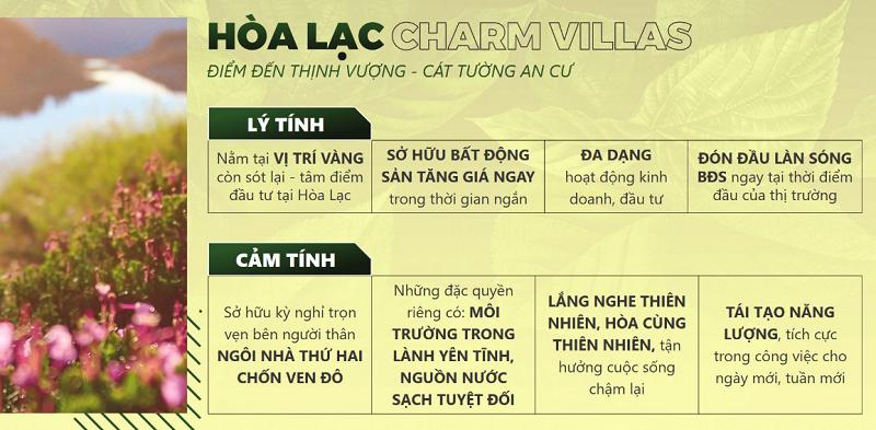 Tiềm năng dự án Hòa Lạc Charm Villas 36 lô Đồng Chằm - Đông Xuân