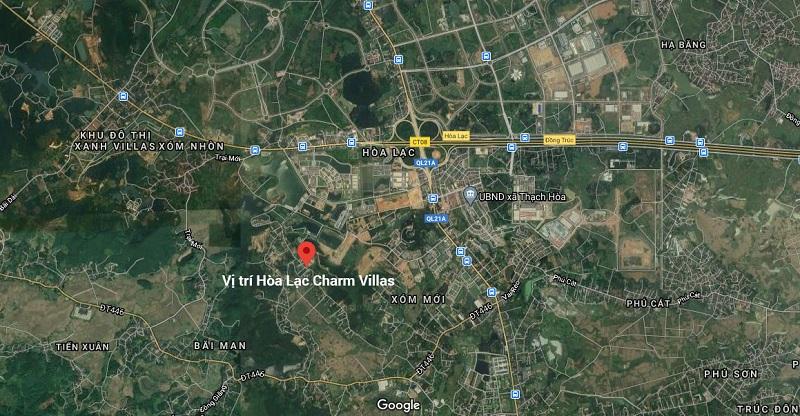 Vị trí dự án Hòa Lạc Charm Villas 36 lô Đồng Chằm - Đông Xuân