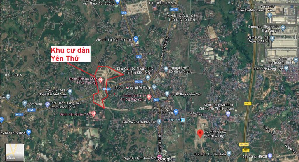 Vị trí khu dân cư Yên Thứ - Phổ Yên - Thái Nguyên