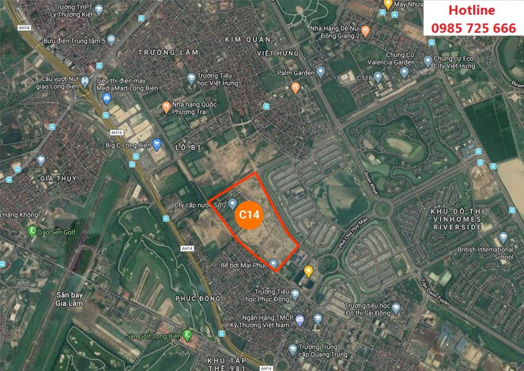 Vị trí Khu Đấu Giá C14 Phúc Đồng - Long Biên trên bản đồ