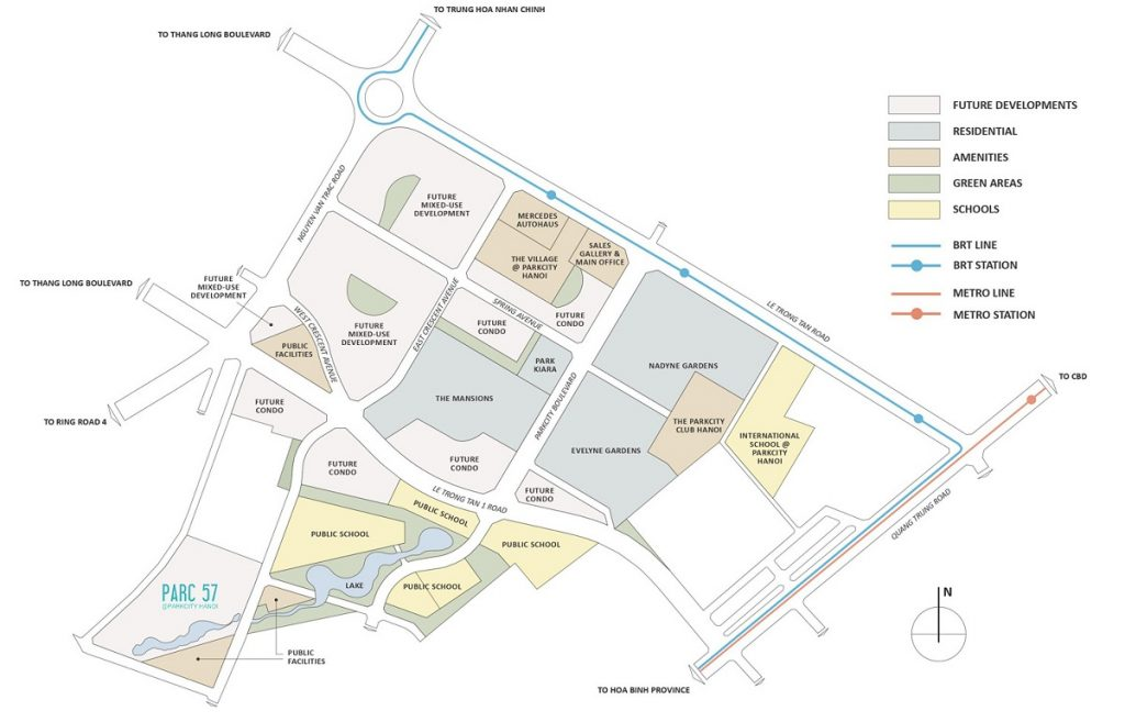 Vị trí khu biệt thự Parc 57 Villas Park City Hà Đông