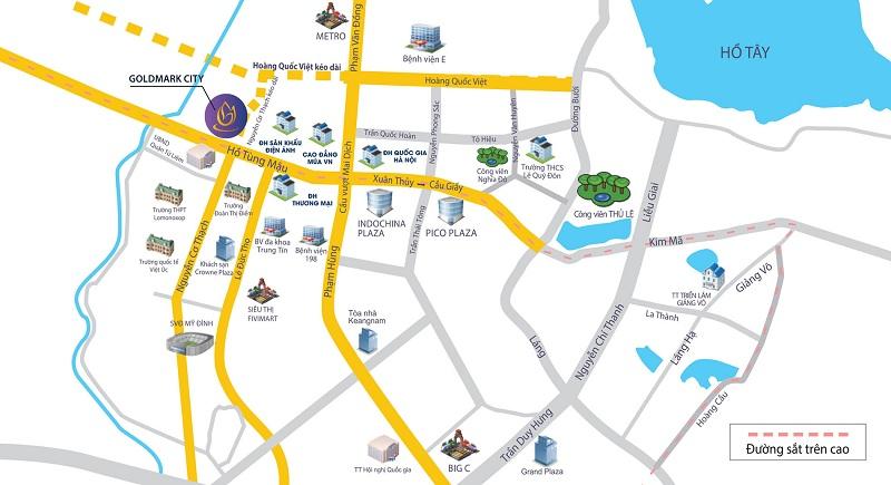 Vị trí tòa Diamond dự án Goldmark City 136 Hồ Tùng Mậu