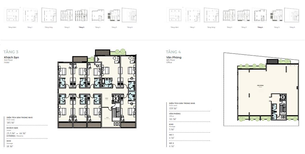 Thiết kế tầng 3-4 căn góc nhà phố triệu đô Shophouse Marina Arc Ecopark