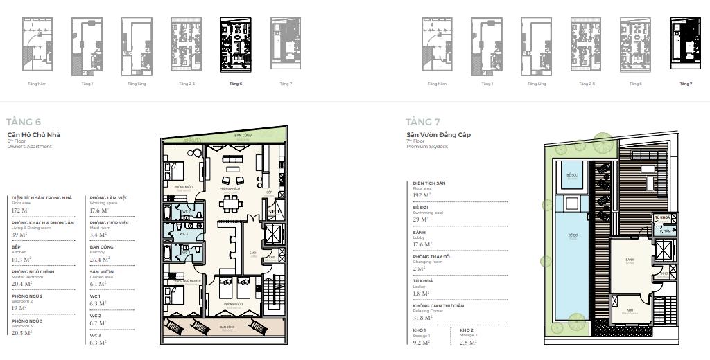 Thiết kế tầng 6 - 7 căn điển hình nhà phố triệu đô Shophouse Marina Arc Ecopark