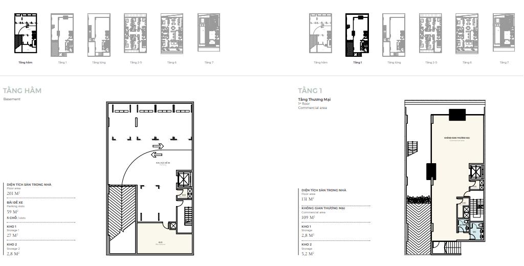Thiết kế tầng hầm - 1 căn điển hình nhà phố triệu đô Shophouse Marina Arc Ecopark