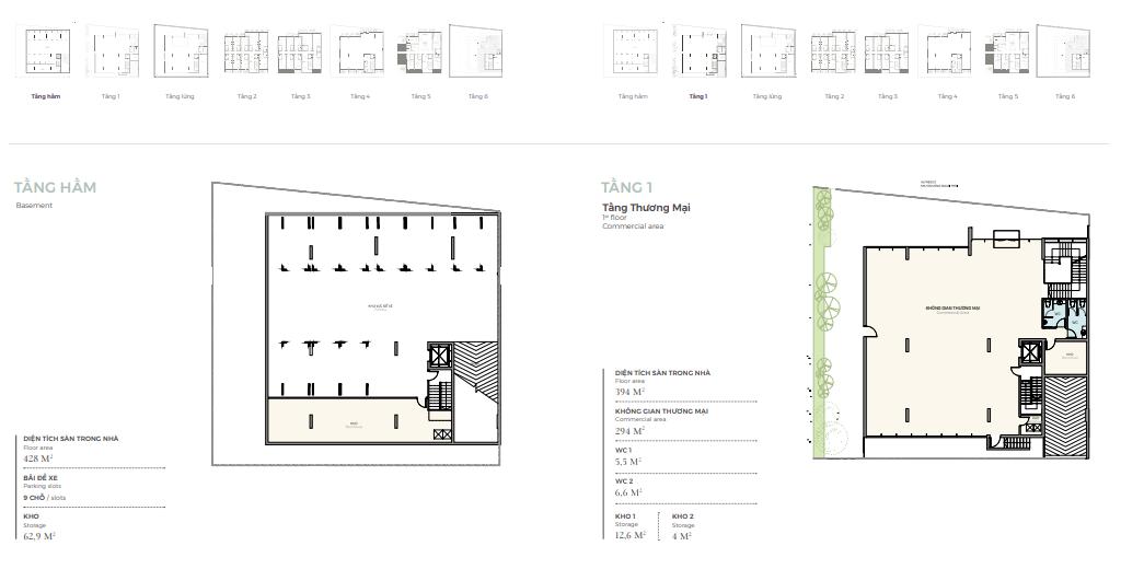 Thiết kế tầng hầm - 1 căn góc nhà phố triệu đô Shophouse Marina Arc Ecopark