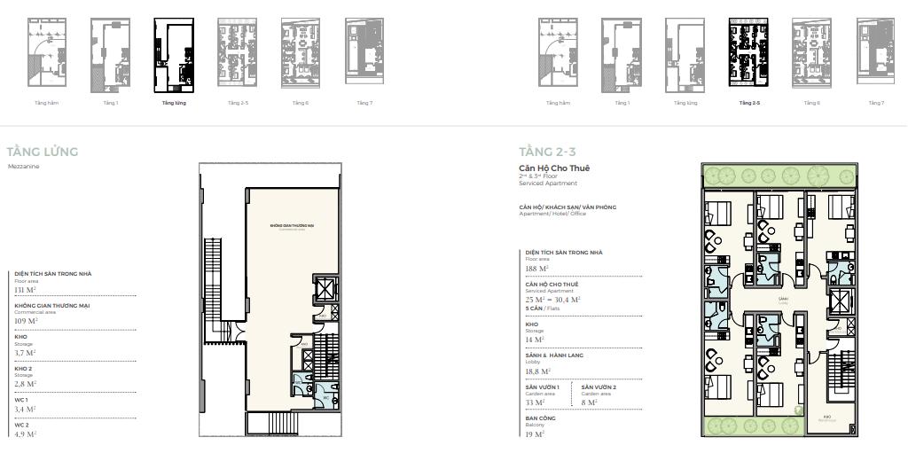 Thiết kế tầng lửng - 2 -3 căn điển hình nhà phố triệu đô Shophouse Marina Arc Ecopark