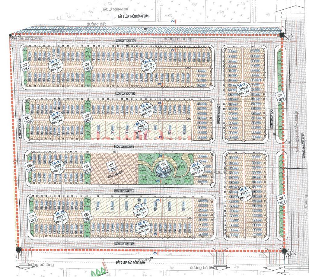 Mặt bằng phân lô khu dân cư Bắc Đồng Đầm - Thái Bình