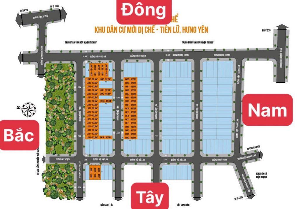 Mặt bằng phân lô khu đấu giá Dị Chế - Tiên Lữ - Hưng Yên