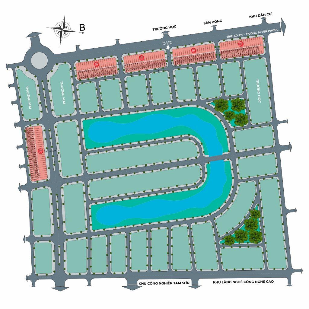 Mặt bằng phân lô dự án Từ Sơn Garden City Nam Hồng