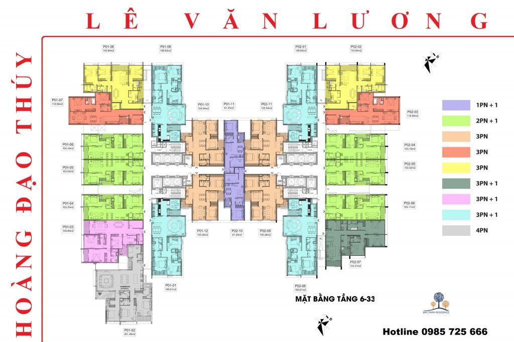 Mặt bằng thiết kế chung cư BRG Diamond Residence 25 Lê Văn Lương