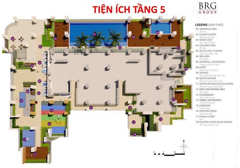 Mặt bằng tiện ích tầng 5 chung cư BRG Diamond Residence 25 Lê Văn Lương