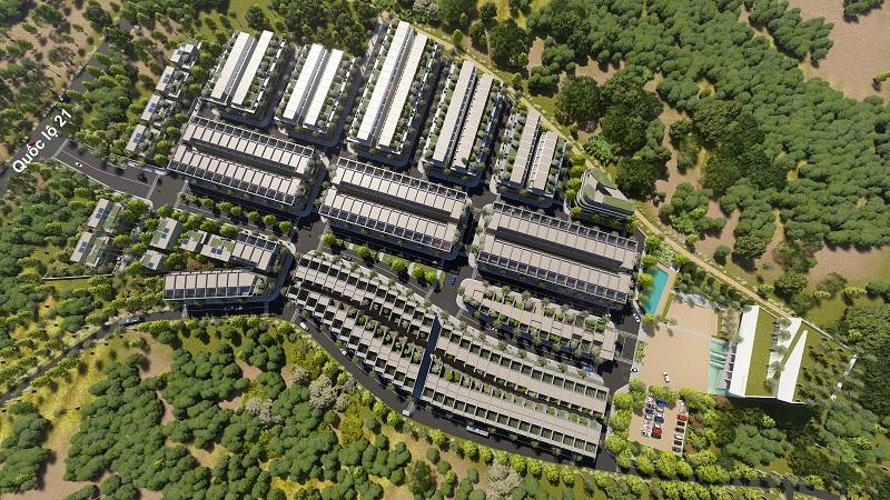 Phối cảnh tổng thể dự án The Spring Town Xuân Mai - Hòa Lạc
