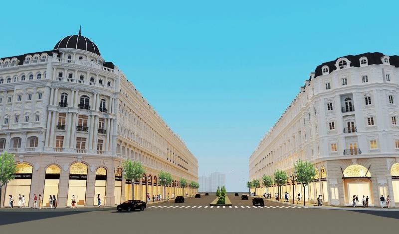 Phối cảnh tuyến phố trung tâm dự án Từ Sơn Garden City Nam Hồng