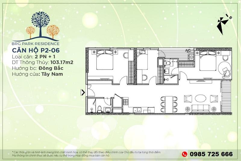 Thiết kế căn hộ 103m2 chung cư BRG Diamond Residence 25 Lê Văn Lương