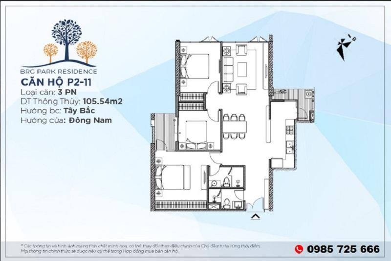 Thiết kế căn hộ 105m2 chung cư BRG Diamond Residence 25 Lê Văn Lương