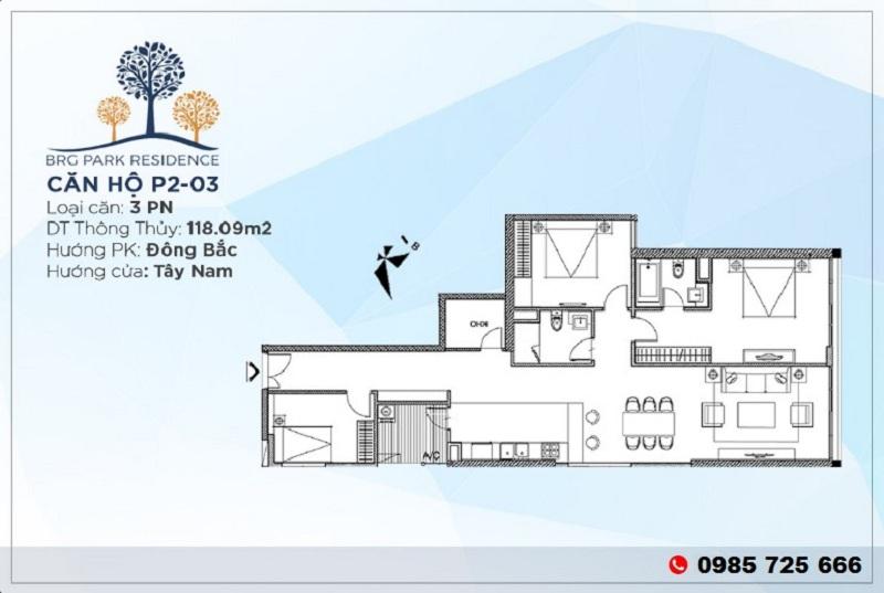 Thiết kế căn hộ 118m2 chung cư BRG Diamond Residence 25 Lê Văn Lương