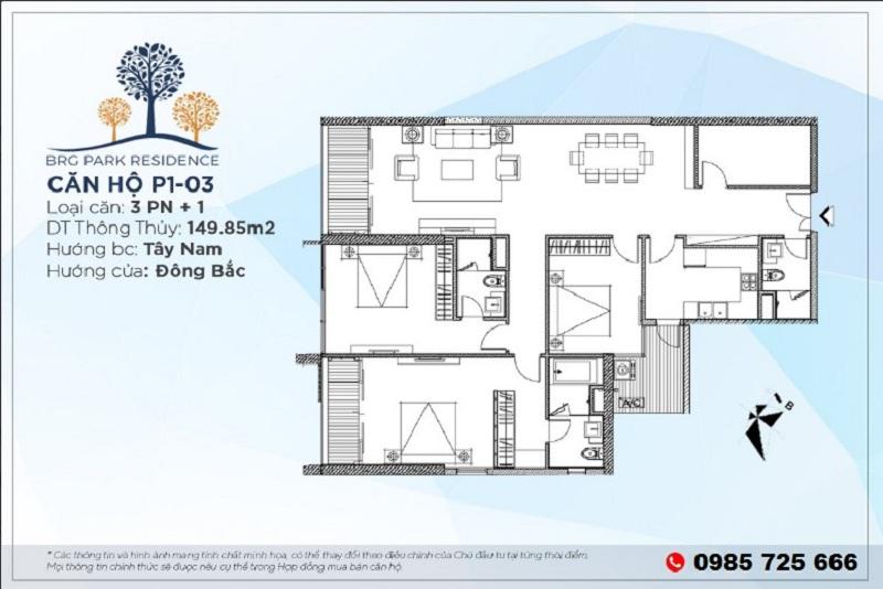 Thiết kế căn hộ 149m2 chung cư BRG Diamond Residence 25 Lê Văn Lương