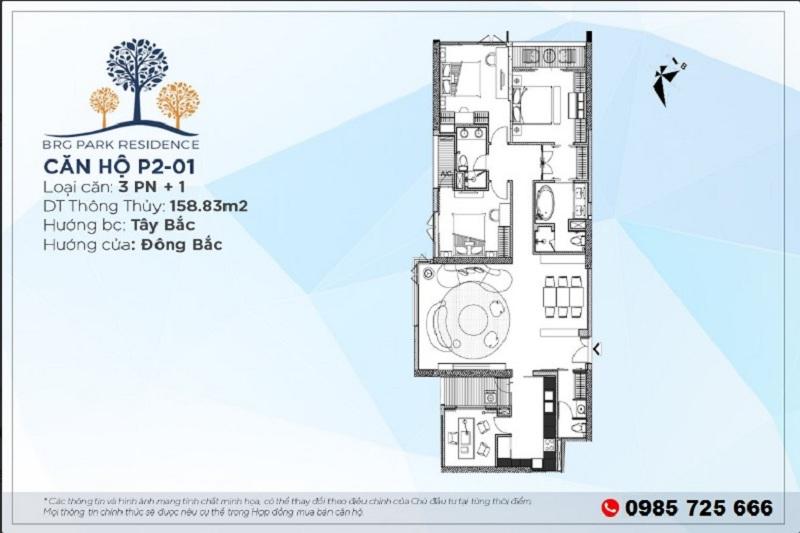 Thiết kế căn hộ 160m2 chung cư BRG Diamond Residence 25 Lê Văn Lương