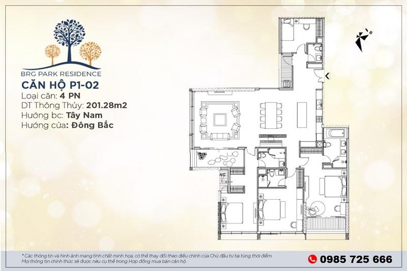 Thiết kế căn hộ 201m2 chung cư BRG Diamond Residence 25 Lê Văn Lương