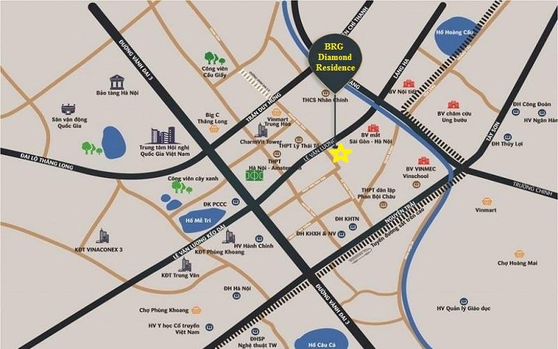 Vị trí chung cư BRG Diamond Residence 25 Lê Văn Lương