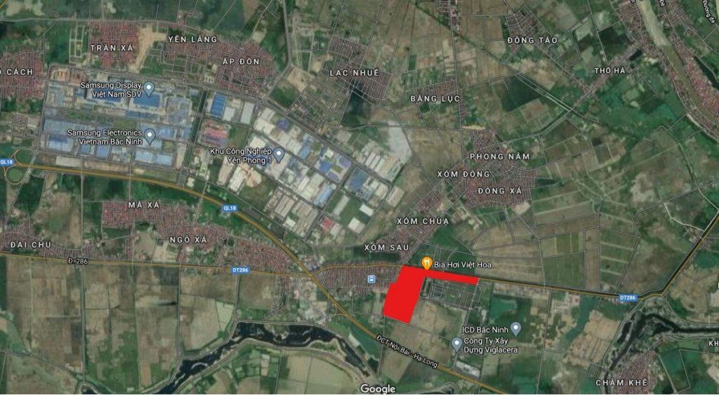 Vị trí đất đấu giá Đông Phong - Yên Phong - Bắc Ninh Văn Phú Invest