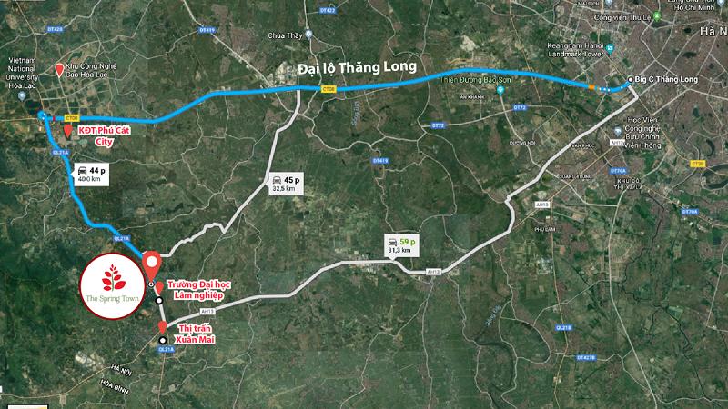 Vị trí dự án The Spring Town Xuân Mai - Hòa Lạc