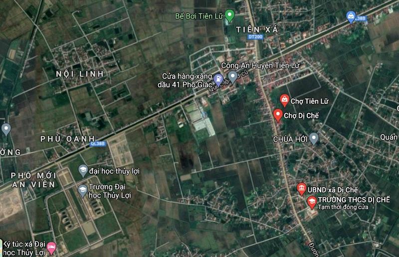 Vị trí khu đấu giá Dị Chế - Tiên Lữ - Hưng Yên