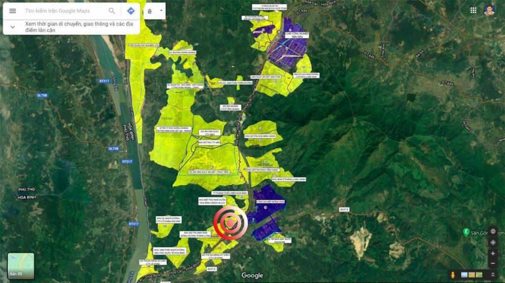 Bản đồ các dư án quanh dự án đất nền Hòa Bình Green Valley Hòa Lạc