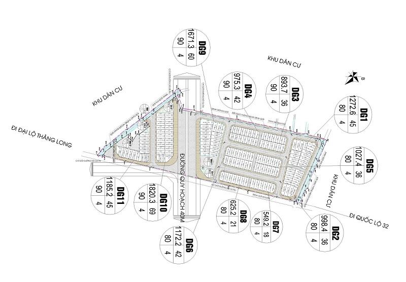 Cơ cấu diện tích khu đất đấu giá Sơn Đồng - Song Phương