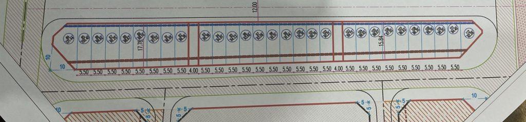 Mặt bằng phân lô dãy 4 khu đấu giá Tây Tựu mặt đường Tây Thăng Long - Bắc Từ Liêm